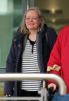 Pictured: Regina Hungerford leaves Eastgate Houise after the hearing in Cardiff, Wales, UK. Thursday 30 March 2017<br /> Re: Regina Hungerford, 56, a long-serving teacher has been banned for four months by a Teacher Misconduct hearing in Cardiff, Wales, after she threw the mobile phone belonging to Shane Jenkins, out of a classroom window.
