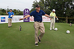 Michael Douglas kicks a football at the 14 hole of the World Celebrity Pro-Am 2016 Mission Hills China Golf Tournament on 21 October 2016, in Haikou, China. Photo by Victor Fraile / Power Sport Images