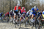 The peloton including Luxembourg Champion Kevin Geniets (LUX) Groupama-FdJ on the cobbles during the 73rd edition of Kuurne-Brussel-Kuurne 2021 running 197km from Kuurne to Kuurne, Belgium. 28th February 2021  <br /> Picture: Serge Waldbillig | Cyclefile<br /> <br /> All photos usage must carry mandatory copyright credit (© Cyclefile | Serge Waldbillig)
