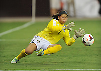 Cecilia Santiago (1) of Mexico makes a save during the game. The USWNT defeated Mexico 7-0 during an international friendly, at RFK Stadium, Tuesday September 3 , 2013.