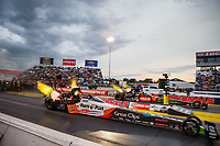 Sep 1, 2017; Clermont, IN, USA; NHRA top fuel driver Clay Millican (near) alongside Terry McMillen during qualifying for the US Nationals at Lucas Oil Raceway. Mandatory Credit: Mark J. Rebilas-USA TODAY Sports
