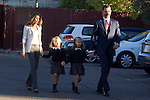 14.09.2012. Prince Felipe of Spain, Princess Letizia of Spain and their daughters Leonor and Sofia  arrive at 'Santa Maria de los Rosales' School in Aravaca near of Madrid, Spain. In the image (L-R) Princess Letizia, Princess Sofia, Princess Leonor and Prince Felipe (Alterphotos/Marta Gonzalez)
