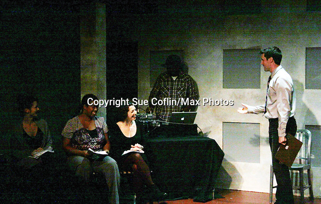 """One Life To Live's Florencia Lozano """"Tea Delgado stars with Scott Sickles (writer OLTL and Artistic Director WorkShop Theatre Co) along with Richard Kent Green, Cecily Benjamin and Amanda Sayle in """"Verbatim Verboten - NYC"""" on October 18, 2010 at the WorkShop Theater, NYC. (Photo by Sue Coflin/Max Photos)"""