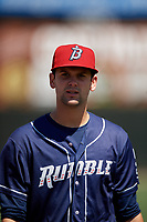 Binghamton Rumble Ponies pitcher Stephen Villines (5) before an Eastern League game against the Bowie Baysox on August 21, 2019 at Prince George's Stadium in Bowie, Maryland.  Bowie defeated Binghamton 7-6 in ten innings.  (Mike Janes/Four Seam Images)