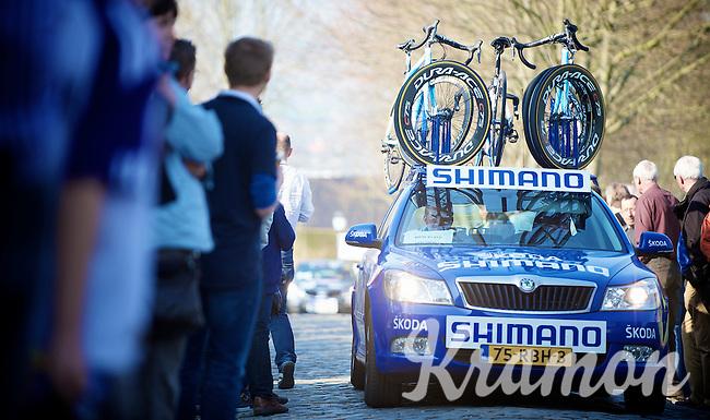 Dwars door Vlaanderen 2012.Shimano neutral support car up the Oude Kwaremont