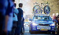Dwars door Vlaanderen 2012.Shimano neutral support car up the Oude Kwaremont