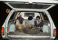 Tijuana, Mexico. January, 1983.<br /> Many Mexican families attempt to cross the border with their children at night. Using night vision devices the border patrol catches them, arrests them, and immediately deports them back to Mexico.