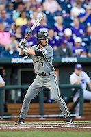 Vanderbilt Commodores shortstop Dansby Swanson (7) at bat during the NCAA College baseball World Series against the TCU Horned Frogs on June 16, 2015 at TD Ameritrade Park in Omaha, Nebraska. Vanderbilt defeated TCU 1-0. (Andrew Woolley/Four Seam Images)
