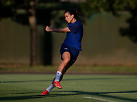 KASHIMA, JAPAN - AUGUST 1: Tobin Heath #7 of the USWNT follows through during a training session at the practice field on August 1, 2021 in Kashima, Japan.
