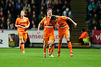 Thursday 28 November  2013  Pictured:Joao Pereira of Valencia of Celebrates with team mates after their first half goal<br /> Re:UEFA Europa League, Swansea City FC vs Valencia CF  at the Liberty Staduim Swansea