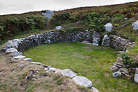 Holyhead Mountain Hut Group,old iron age farm steadings,low stone walls would have supported roof timbers covered in thatch or turf.