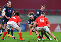 10th October 2020; Thomond Park, Limerick, Munster, Ireland; Guinness Pro 14 Rugby, Munster versus Edinburgh; Jamie Ritchie of Edinburgh brings the ball into contact