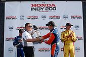 HPD President Ted Klaus, Felix Rosenqvist, Chip Ganassi Racing Honda, podium, Scott Dixon, Chip Ganassi Racing Honda, Ryan Hunter-Reay, Andretti Autosport Honda
