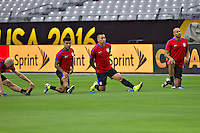 Glendale, AZ - Friday June 24, 2016: DeAndre Yedlin, Bobby Wood, John Brooks of the United States during a training prior to the third place match of the Copa America Centenario at the University of Phoenix Stadium.<br /> Action photo during of the United States team training before the game against the selection of Colombia for third place in the America Cup Centenary 2016 at University of Phoenix Stadium<br /> <br /> Foto de accion durante el Entrenamiento de la Seleccion de Estados Unidos previo al partido contra la Seleccion de Colombia por el tercer lugar de la Copa America Centenario 2016, en el Estadio de la Universidad de Phoenix, en la foto: (i-d) DeAndrev Yedlin, Bobby Wood, John Brooks de USA<br /> <br /> <br /> 24/06/2016/MEXSPORT/Victor Posadas.