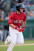 Second baseman Cam Cannon (4) of the Greenville Drive in a game against the Greensboro Grasshoppers on Saturday, July 24, 2021, at Fluor Field at the West End in Greenville, South Carolina. (Tom Priddy/Four Seam Images)