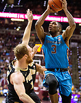 Florida State guard Trent Forrest is called for charging Purdue forward Evan Boudreaux late in the second half of an NCAA college basketball game in Tallahassee, Fla., Wednesday, Nov. 28, 2018. Florida State defeated Purdue 73-72.  (AP Photo/Mark Wallheiser)