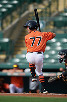 Baltimore Orioles second baseman Rylan Bannon (77) at bat during a Florida Instructional League game against the Pittsburgh Pirates on September 22, 2018 at Ed Smith Stadium in Sarasota, Florida.  (Mike Janes/Four Seam Images)