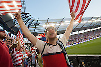 Fans of the United States Men's National Team celebrating the USA scoring their first goal against Guatemala at Livestrong Sporting Park in Kansas City, Kansas in a World Cup Qualifier on Tue. Oct. 16, 2012.