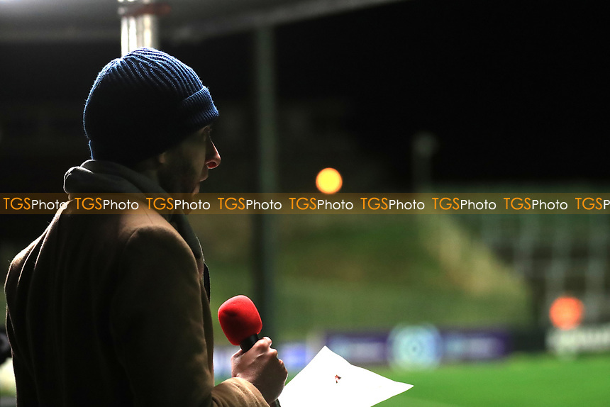 A commentator during Lewes Women vs Bristol City Women, FA Women's Continental League Cup Football at The Dripping Pan on 18th November 2020