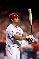 Albert Pujols #5 of the Los Angeles Angels waits on deck during a game against the St. Louis Cardinals at Angel Stadium on July 3, 2013 in Anaheim, California. (Larry Goren/Four Seam Images)