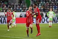 17.02.2018, Football 1. Bundesliga 2017/2018, 23.  match day, VfL Wolfsburg - FC Bayern Muenchen, in Volkswagen Arena Wolfsburg. celebration  scorer Robert Lewandowski (Bayern Muenchen) and David Alaba (Bayern Muenchen)   1:2 per Foulpenalty *** Local Caption *** © pixathlon<br /> <br /> Contact: +49-40-22 63 02 60 , info@pixathlon.de