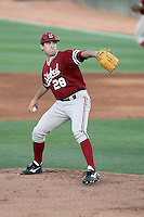 Danny Sandbrink #28 of the Stanford Cardinal pitches against the Arizona State Sun Devils on April 30, 2011 at Packard Stadium, Arizona State University, in Tempe, Arizona. .Photo by:  Bill Mitchell/Four Seam Images.