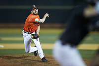 Virginia Cavaliers relief pitcher Mack Meyer (47) in action against the Wake Forest Demon Deacons at David F. Couch Ballpark on May 18, 2018 in  Winston-Salem, North Carolina.  The Cavaliers defeated the Demon Deacons 15-3.  (Brian Westerholt/Four Seam Images)