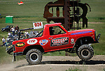 STURGIS, SD - JUNE 13: Justin Berg runs past the flag stand during the Stock-Mod class during the Liberty Super stores/Dakota Customs 250 short course baja race at the Buffalo Chip.  (Photo by Dick Carlson/Inertia)