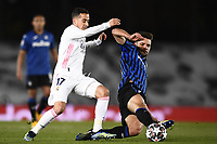 16th March 2021; Madrid, Spain; during the Champions League match, round of 16, between Real Madrid and Atalanta; Berat Djimsiti challenges Lucas Vazquez