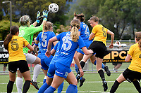 Kaley Ward of Capital scores a goal during the  Handa Women's Premiership - Capital Football v Southern United at Petone Memorial Park, Wellington on Saturday 7 November 2020.<br /> Copyright photo: Masanori Udagawa /  www.photosport.nz