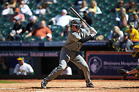 Chad McDaniel (20) of the Missouri Tigers at bat against the Baylor Bears in game one of the 2020 Shriners Hospitals for Children College Classic at Minute Maid Park on February 28, 2020 in Houston, Texas. The Bears defeated the Tigers 4-2. (Brian Westerholt/Four Seam Images)