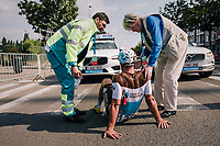 while in full sprint towards the finish line, some riders (mainly from AG2R-LM) crashed heavily in the middle of the pack, leaving a few behind on the tarmac...<br /> like Rudy Barbier (FRA/AG2R-La Mondiale) here<br /> <br /> 98th Brussels Cycling Classic 2018<br /> One Day Race:  Brussels > Brussels (201km)