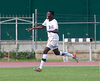 Alfred Karoma (7) of the United States celebrates his goal during the first day of the group stage at the CONCACAF Men's Under 17 Championship at Catherine Hall Stadium in Montego Bay, Jamaica. The United States defeated Cuba, 3-1.