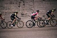 Maglia Rosa / overall leader Simon Yates (GBR/Mitchelton-Scott) in the peloton up the Passo di Sant'Antonio<br /> <br /> stage 15: Tolmezzo – Sappada (176 km)<br /> 101th Giro d'Italia 2018