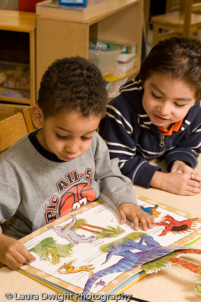 Preschool 4-5 year olds two boys looking at picture book and talking horizontal