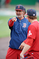 Salem Red Sox pitching coach Paul Abbott (44) during practice before the first game of a doubleheader against the Potomac Nationals on May 13, 2017 at G. Richard Pfitzner Stadium in Woodbridge, Virginia.  Potomac defeated Salem 6-0.  (Mike Janes/Four Seam Images)