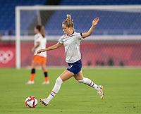 YOKOHAMA, JAPAN - JULY 30: Kristie Mewis #6 of the USWNT warms up before a game between Netherlands and USWNT at International Stadium Yokohama on July 30, 2021 in Yokohama, Japan.