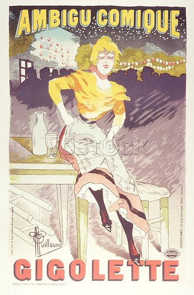 Poster (lithograph) by Albert Guillaume for « Gigolette », production at Theatre de l'Ambigu printed by Imprimerie Chaix, Paris, 1896 /