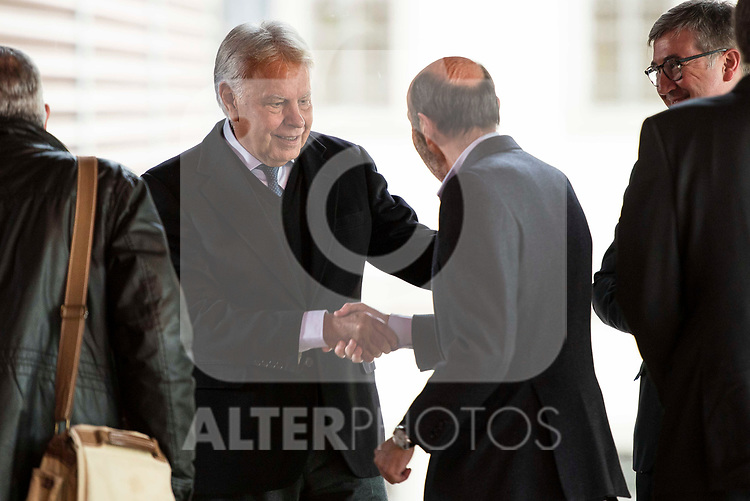 Felipe Gonzalez and Alfredo Perez Rubalcaba attends to the act of imposition of the great cross of the civil order of Alfonso X el Sabio to D. Francisco Luzon Lopez at Reina Sofia Museum in Madrid. March 13, 2017. (ALTERPHOTOS/Borja B.Hojas)