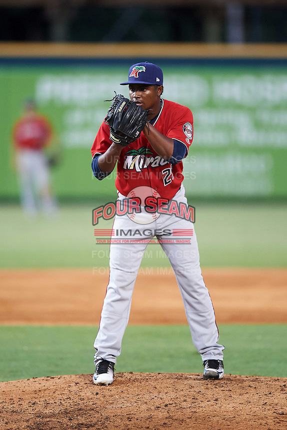 Fort Myers Miracle relief pitcher Randy Rosario (25) during a game against the Bradenton Marauders on August 3, 2016 at McKechnie Field in Bradenton, Florida.  Bradenton defeated Fort Myers 9-5.  (Mike Janes/Four Seam Images)