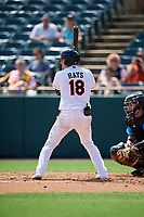 Bowie Baysox Austin Hays (18) during an Eastern League game against the Akron RubberDucks on May 30, 2019 at Prince George's Stadium in Bowie, Maryland.  Akron defeated Bowie 9-5.  (Mike Janes/Four Seam Images)