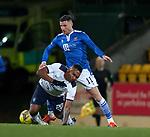 23.12.2020 St Johnstone v Rangers: Michael O'Halloran fouls Alfredo Morelos earning his first yellow card