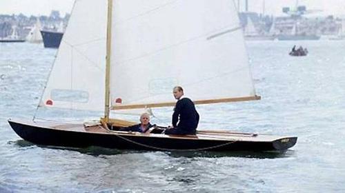 Prince Philip and Uffa Fox sailing Coweslip