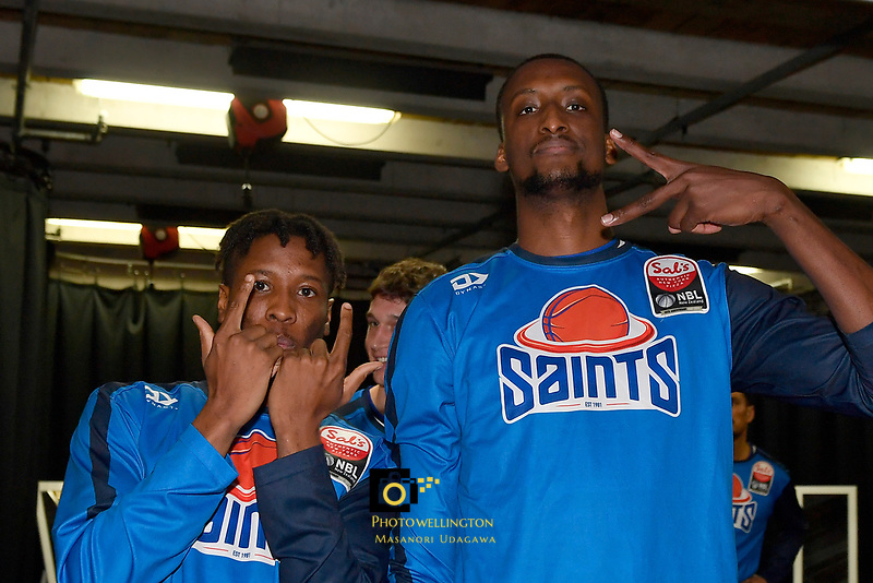 Kerwin Roach and Romaro Gill of the Wellington Saints before the NBL match between the Wellington Saints and the Auckland Huskies at TSB Bank Arena, Wellington, New Zealand on Friday 28 May 2021.<br /> Photo by Masanori Udagawa. <br /> www.photowellington.photoshelter.com