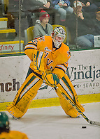 19 February 2016: University of Vermont Catamount Goaltender Packy Munson, a Freshman from Hugo, MN, controls the puck in the third period against the Boston College Eagles at Gutterson Fieldhouse in Burlington, Vermont. The Eagles defeated the Catamounts 3-1 in the first game of their weekend series. Mandatory Credit: Ed Wolfstein Photo *** RAW (NEF) Image File Available ***