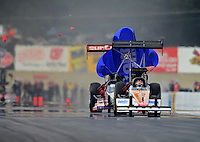 Oct. 6, 2012; Mohnton, PA, USA: NHRA top fuel dragster driver Rit Pustari (left) collides with the car of Clay Millican during qualifying for the Auto Plus Nationals at Maple Grove Raceway. Mandatory Credit: Mark J. Rebilas-
