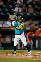 Bradenton Barbanegras Jesse Medrano (3) bats during a Florida State League game against the St. Lucie Mets on July 27, 2019 at LECOM Park in Bradenton, Florida.  Bradenton defeated St. Lucie 3-2.  (Mike Janes/Four Seam Images)