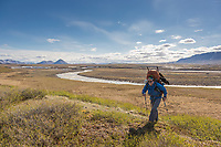 Tundra travel  in the Arctic.