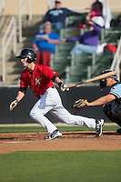Grant Massey (18) of the Kannapolis Intimidators follows through on his swing against the Hickory Crawdads at Kannapolis Intimidators Stadium on April 10, 2016 in Kannapolis, North Carolina.  The Intimidators defeated the Crawdads 10-3.  (Brian Westerholt/Four Seam Images)