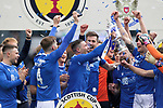 St Johnstone v Hibs…22.05.21  Scottish Cup Final Hampden Park<br />Michael O'Halloran lifts the Scottish Cup as he celebrates with his team mates<br />Picture by Graeme Hart.<br />Copyright Perthshire Picture Agency<br />Tel: 01738 623350  Mobile: 07990 594431
